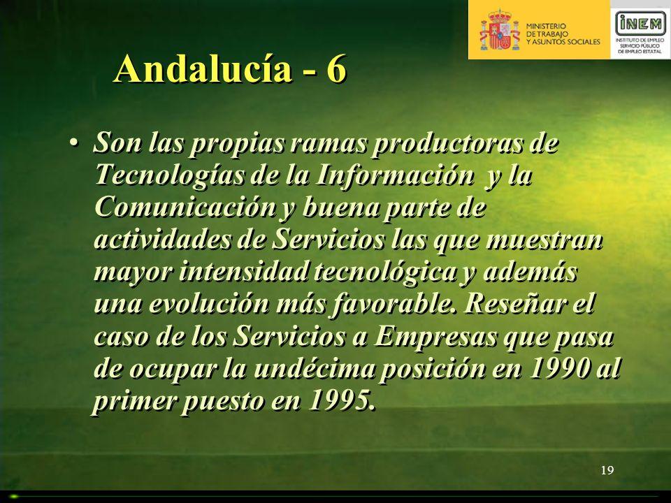 19 Andalucía - 6 Son las propias ramas productoras de Tecnologías de la Información y la Comunicación y buena parte de actividades de Servicios las qu