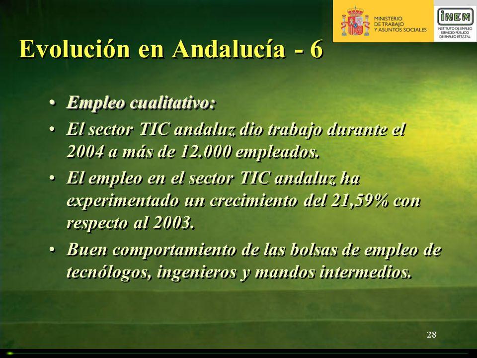 28 Evolución en Andalucía - 6 Empleo cualitativo:Empleo cualitativo: El sector TIC andaluz dio trabajo durante el 2004 a más de 12.000 empleados. El e