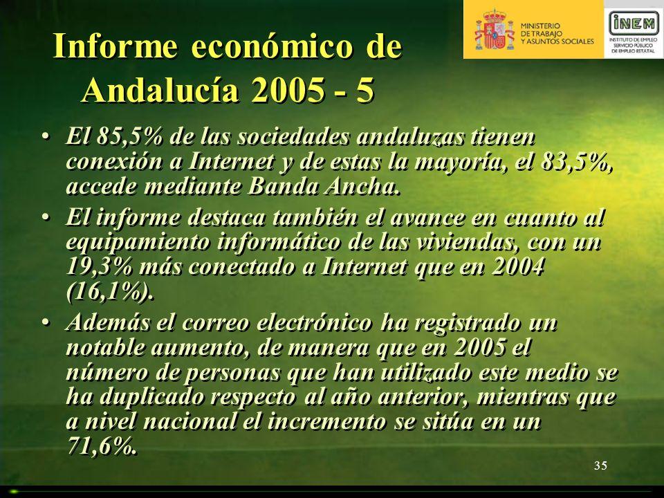 35 Informe económico de Andalucía 2005 - 5 El 85,5% de las sociedades andaluzas tienen conexión a Internet y de estas la mayoría, el 83,5%, accede med