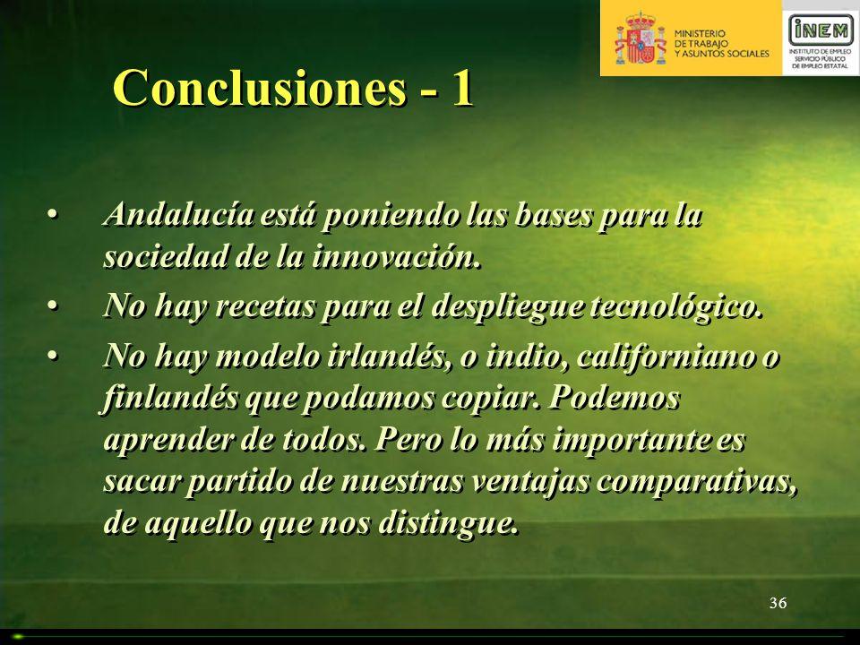 36 Conclusiones - 1 Andalucía está poniendo las bases para la sociedad de la innovación. No hay recetas para el despliegue tecnológico. No hay modelo