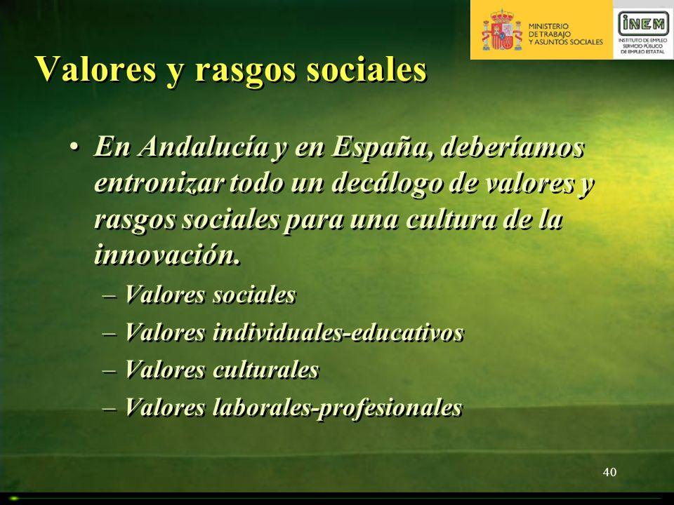 40 Valores y rasgos sociales En Andalucía y en España, deberíamos entronizar todo un decálogo de valores y rasgos sociales para una cultura de la inno