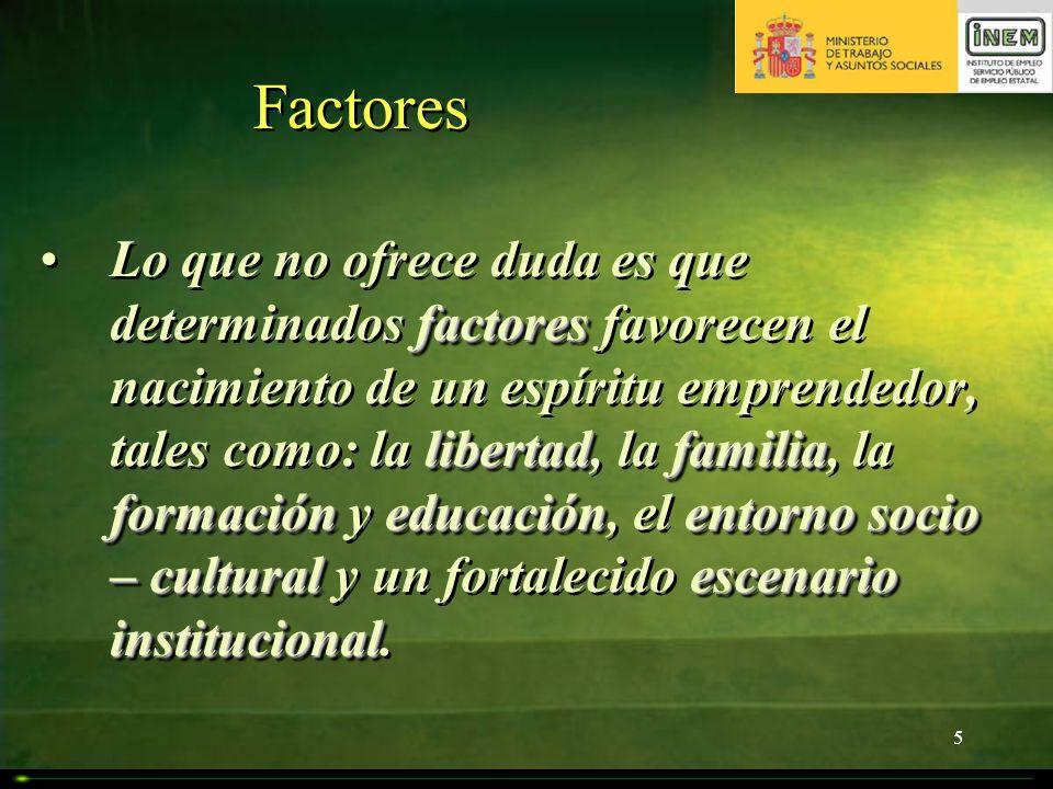 5 Factores factores libertadfamilia formacióneducaciónentorno socio – culturalescenario institucionalLo que no ofrece duda es que determinados factore
