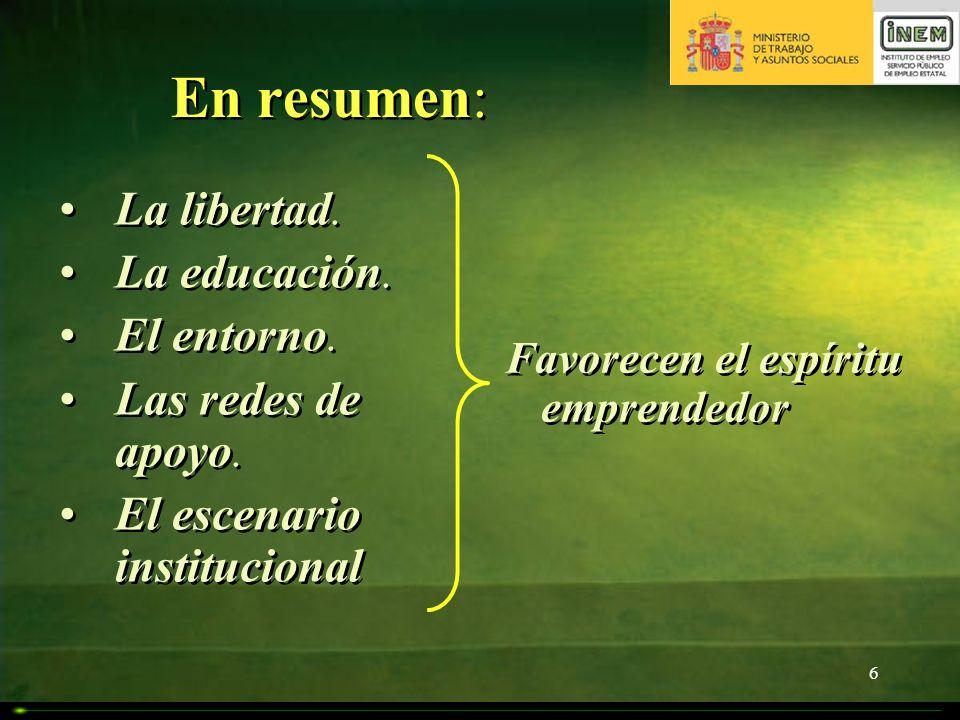 6 En resumen: La libertad. La educación. El entorno. Las redes de apoyo. El escenario institucional La libertad. La educación. El entorno. Las redes d