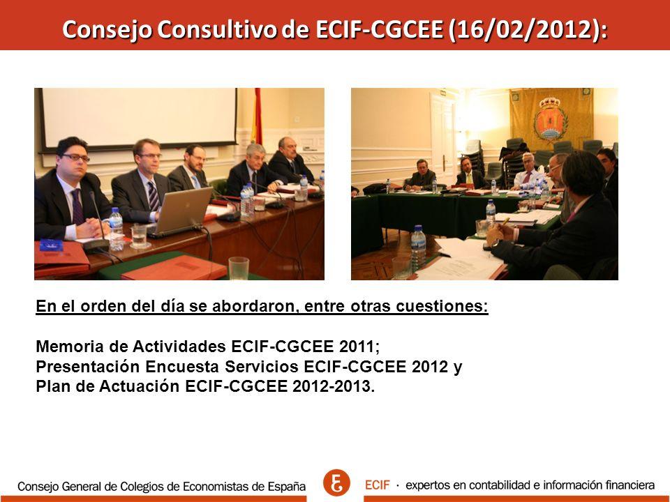 Consejo Consultivo de ECIF-CGCEE (16/02/2012): En el orden del día se abordaron, entre otras cuestiones: Memoria de Actividades ECIF-CGCEE 2011; Presentación Encuesta Servicios ECIF-CGCEE 2012 y Plan de Actuación ECIF-CGCEE 2012-2013.