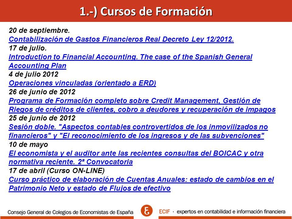 20 de septiembre. Contabilización de Gastos Financieros Real Decreto Ley 12/2012.