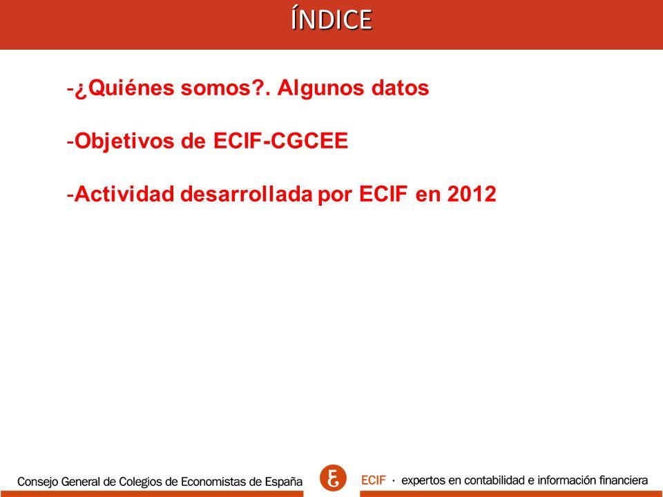 Actividad desarrollada por ECIF 2012 1.-)Cursos de Formación desde febrero 2012 2.-)Consultas técnicas a ECIF 3.-)Elaboración de Materiales Específicos 4.-)Boletín ECIF 5.-)Informa ECIF 6.-) Otros servicios ECIF-CGCEE 7.-) Acuerdos de colaboración en 8.-) Participación en Jornadas/Congresos/Encuentros 9.-) ECIF en los medios 10.-) Web de ECIF