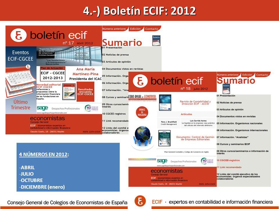 4.-) Boletín ECIF: 2012 4 NÚMEROS EN 2012: -ABRIL -JULIO -OCTUBRE -DICIEMBRE (enero)
