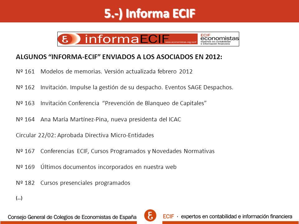 5.-) Informa ECIF ALGUNOS INFORMA-ECIF ENVIADOS A LOS ASOCIADOS EN 2012: Nº 161 Modelos de memorias.