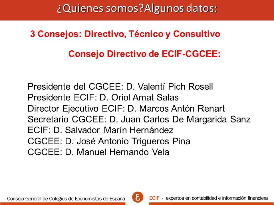 ¿Quienes somos Algunos datos: ¿Quienes somos Algunos datos: 3 Consejos: Directivo, Técnico y Consultivo Consejo Directivo de ECIF-CGCEE: Presidente del CGCEE: D.
