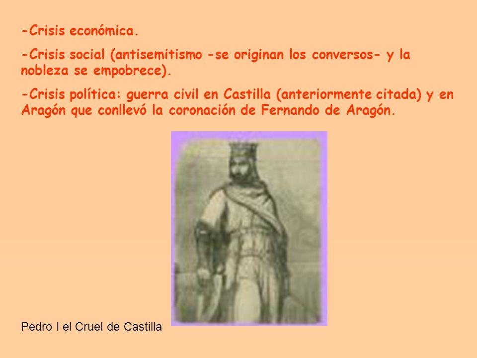 La historia política de los siglos XIV y XV fue realmente compleja y estuvo marcada por las crisis. En Castilla hubo una guerra civil entre Pedro I el