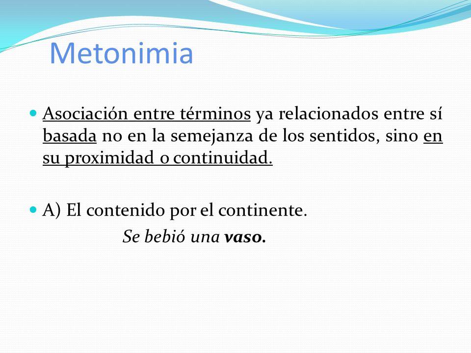 Metonimia Asociación entre términos ya relacionados entre sí basada no en la semejanza de los sentidos, sino en su proximidad o continuidad. A) El con