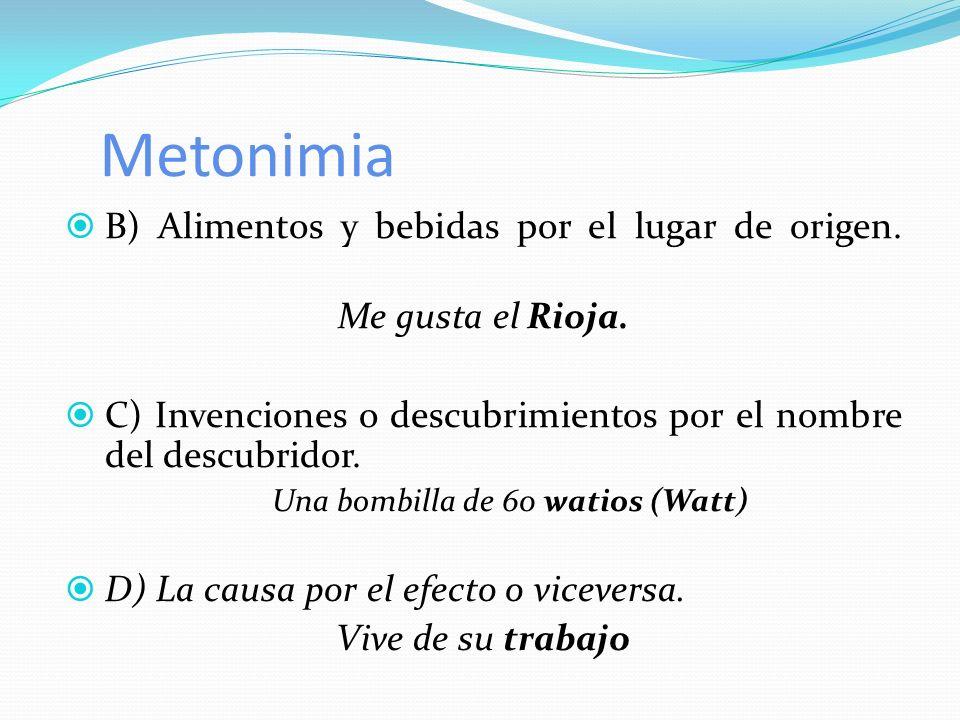 B) Alimentos y bebidas por el lugar de origen. Me gusta el Rioja. C) Invenciones o descubrimientos por el nombre del descubridor. Una bombilla de 60 w