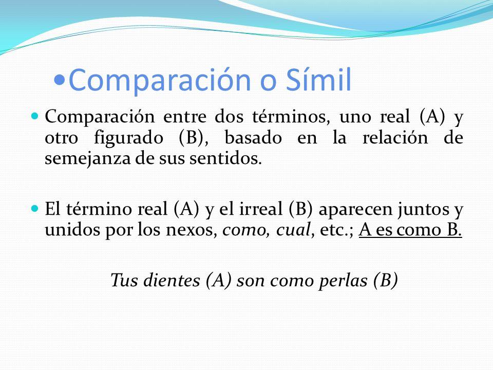 Comparación o Símil Comparación entre dos términos, uno real (A) y otro figurado (B), basado en la relación de semejanza de sus sentidos. El término r