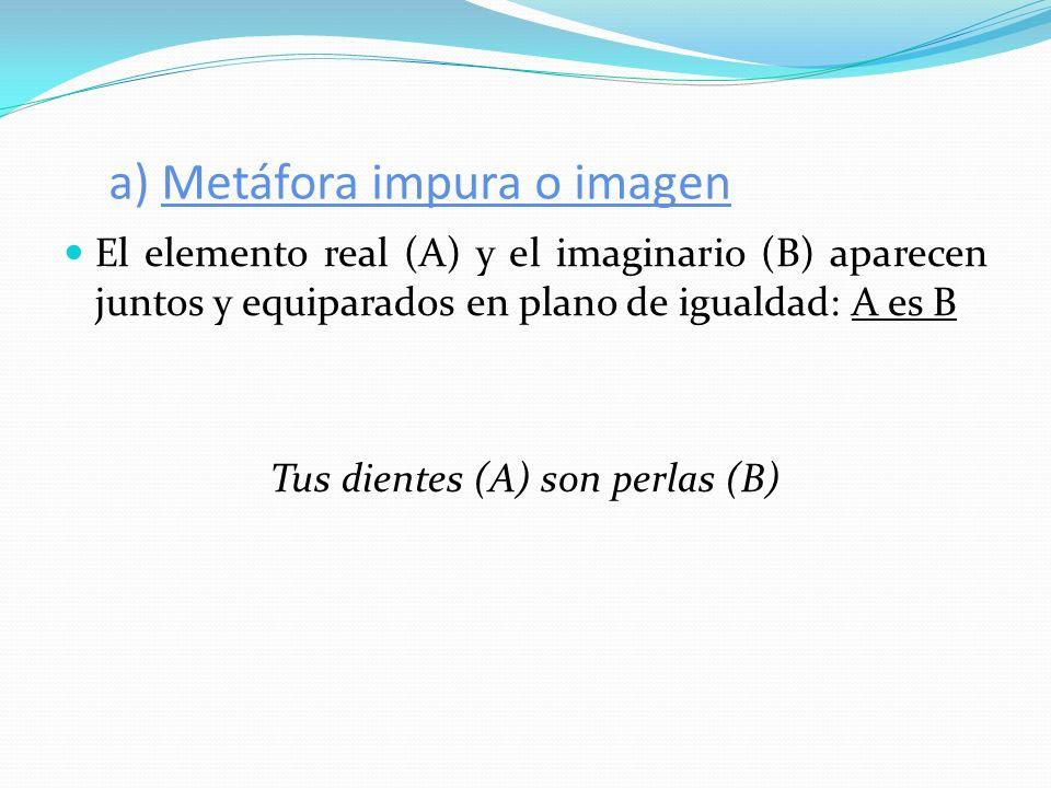 a) Metáfora impura o imagen El elemento real (A) y el imaginario (B) aparecen juntos y equiparados en plano de igualdad: A es B Tus dientes (A) son pe