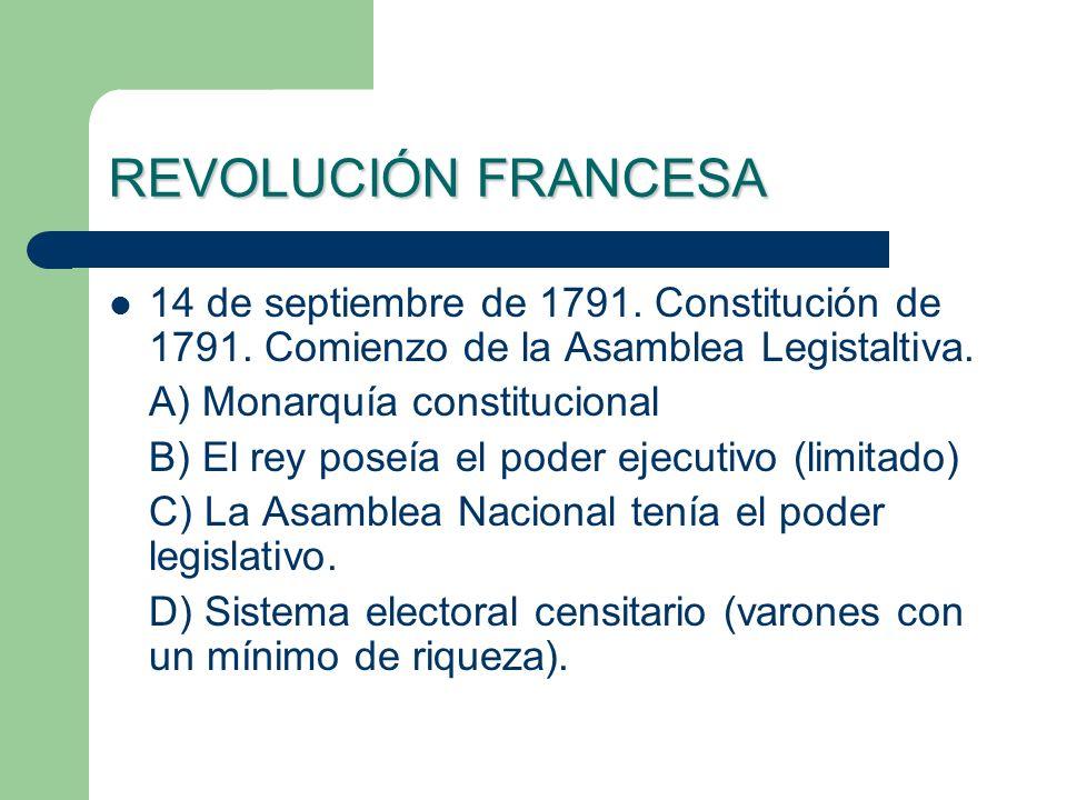 REVOLUCIÓN FRANCESA 14 de septiembre de 1791. Constitución de 1791. Comienzo de la Asamblea Legistaltiva. A) Monarquía constitucional B) El rey poseía