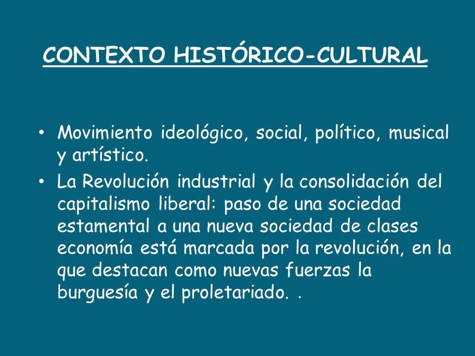 CONTEXTO HISTÓRICO-CULTURAL Movimiento ideológico, social, político, musical y artístico. La Revolución industrial y la consolidación del capitalismo
