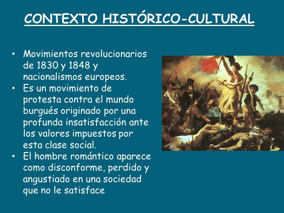 CONTEXTO HISTÓRICO-CULTURAL Movimientos revolucionarios de 1830 y 1848 y nacionalismos europeos. Es un movimiento de protesta contra el mundo burgués