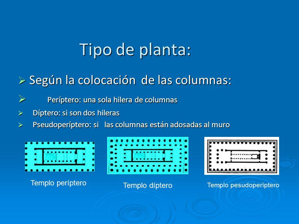 Tipo de planta: Según la colocación de las columnas: Según la colocación de las columnas: Períptero: una sola hilera de columnas Períptero: una sola h