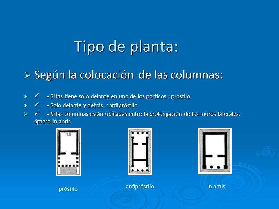 Tipo de planta: Según la colocación de las columnas: Según la colocación de las columnas: - Si las tiene solo delante en uno de los pórticos : próstil