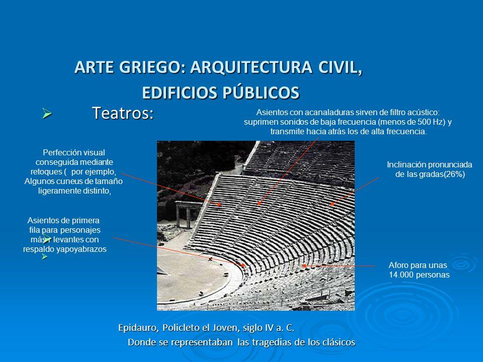 ARTE GRIEGO: ARQUITECTURA CIVIL, EDIFICIOS PÚBLICOS Teatros: Teatros: Epidauro, Policleto el Joven, siglo IV a. C. Epidauro, Policleto el Joven, siglo