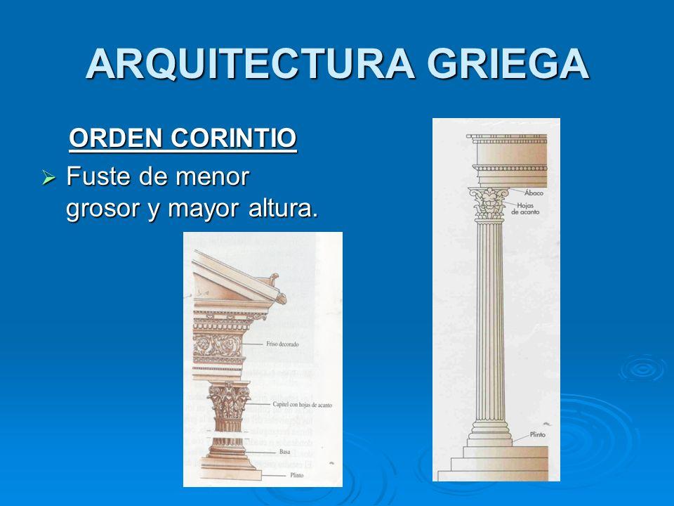 ARQUITECTURA GRIEGA ORDEN CORINTIO Fuste de menor grosor y mayor altura. Fuste de menor grosor y mayor altura.