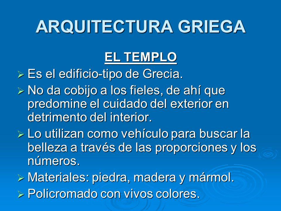 ARQUITECTURA GRIEGA EL TEMPLO Es el edificio-tipo de Grecia. Es el edificio-tipo de Grecia. No da cobijo a los fieles, de ahí que predomine el cuidado