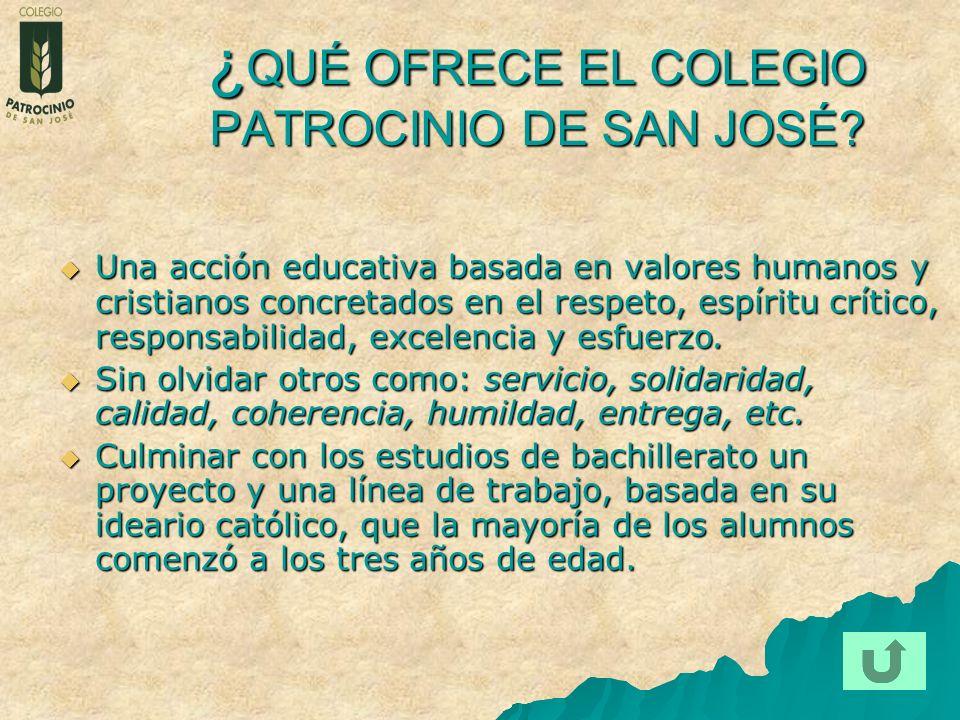 ¿ QUÉ OFRECE EL COLEGIO PATROCINIO DE SAN JOSÉ? Una acción educativa basada en valores humanos y cristianos concretados en el respeto, espíritu crític