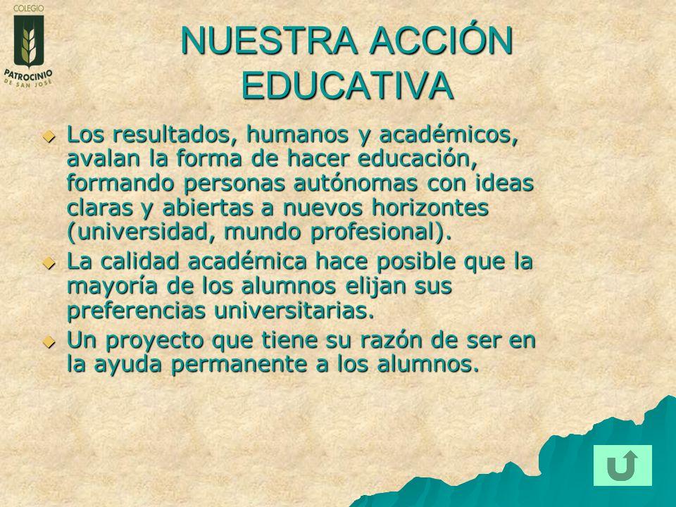 NUESTRA ACCIÓN EDUCATIVA Los resultados, humanos y académicos, avalan la forma de hacer educación, formando personas autónomas con ideas claras y abie