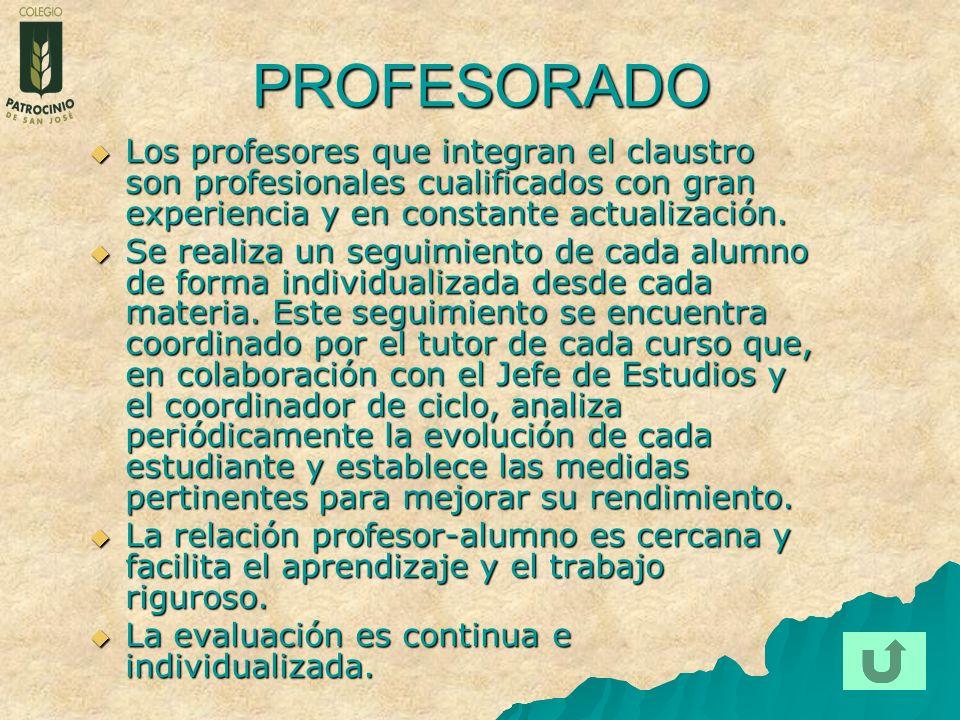 PROFESORADO Los profesores que integran el claustro son profesionales cualificados con gran experiencia y en constante actualización. Los profesores q