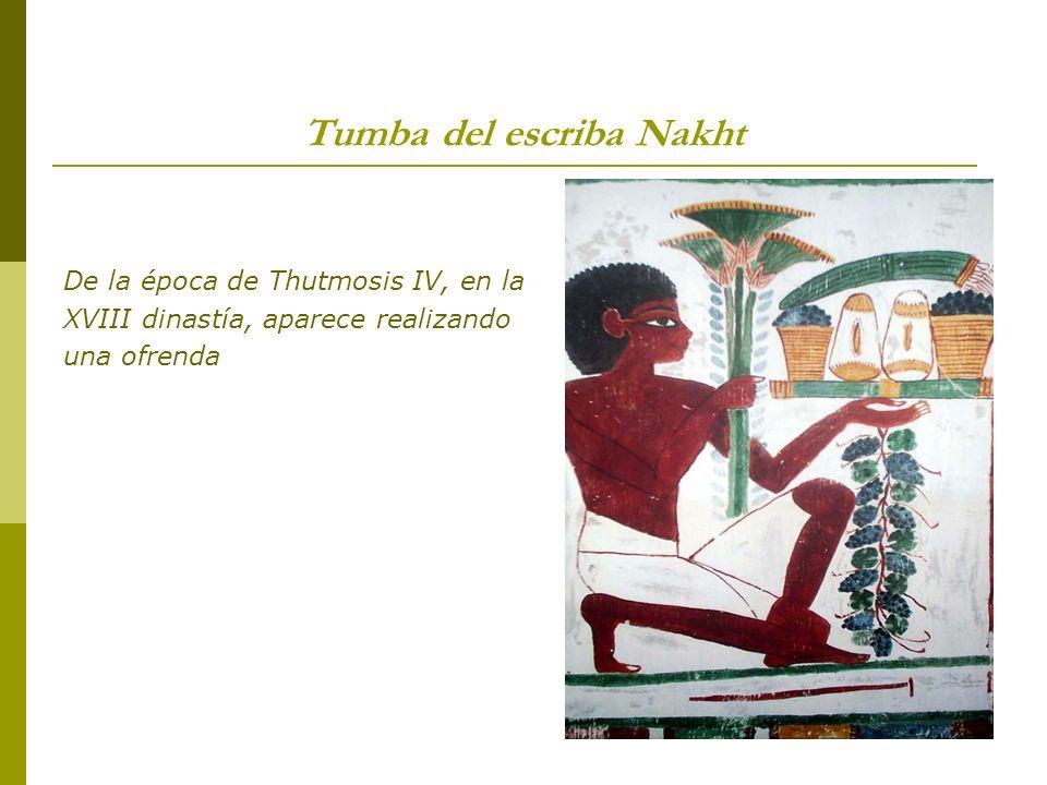 Tumba del escriba Nakht De la época de Thutmosis IV, en la XVIII dinastía, aparece realizando una ofrenda