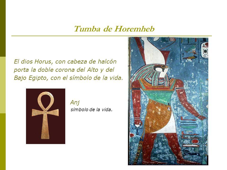 Tumba de Horemheb El dios Horus, con cabeza de halcón porta la doble corona del Alto y del Bajo Egipto, con el símbolo de la vida. Anj símbolo de la v