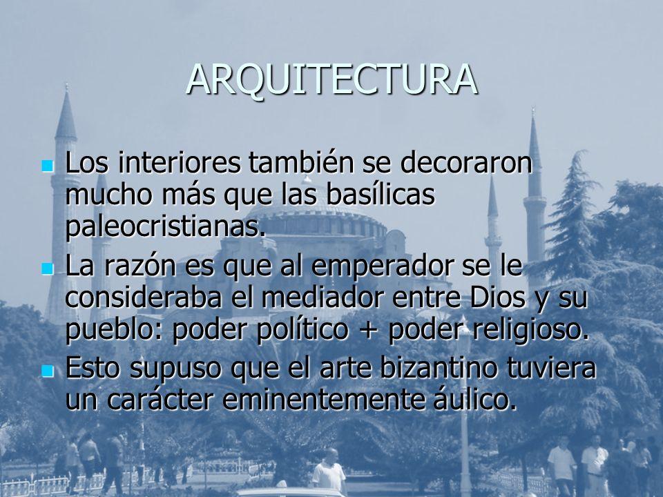ARQUITECTURA Los interiores también se decoraron mucho más que las basílicas paleocristianas. Los interiores también se decoraron mucho más que las ba