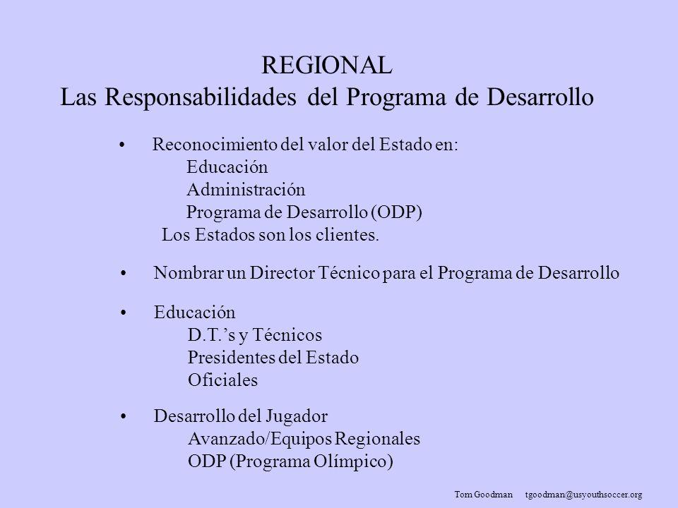 Tom Goodman tgoodman@usyouthsoccer.org REGIONAL Las Responsabilidades del Programa de Desarrollo Reconocimiento del valor del Estado en: Educación Administración Programa de Desarrollo (ODP) Los Estados son los clientes.