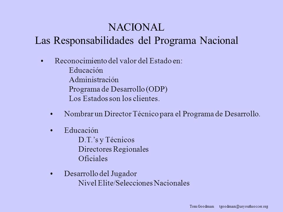 Tom Goodman tgoodman@usyouthsoccer.org NACIONAL Las Responsabilidades del Programa Nacional Reconocimiento del valor del Estado en: Educación Administración Programa de Desarrollo (ODP) Los Estados son los clientes.