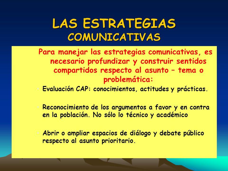 LAS ESTRATEGIAS COMUNICATIVAS Para manejar las estrategias comunicativas, es necesario profundizar y construir sentidos compartidos respecto al asunto