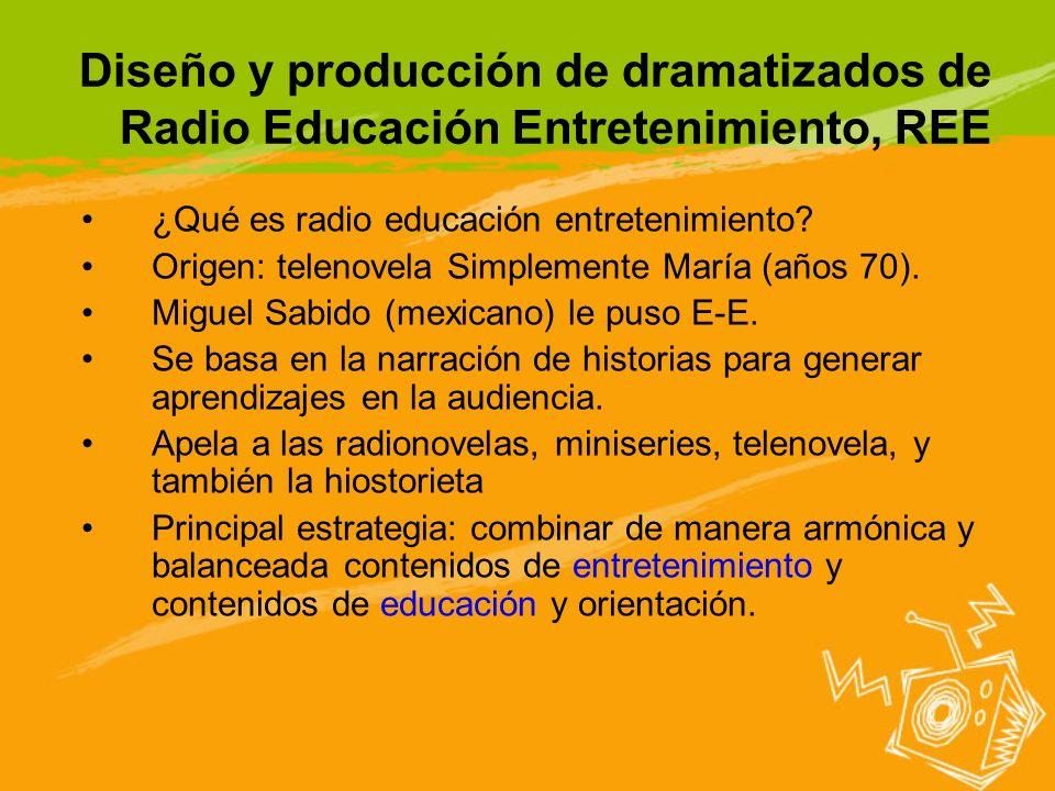 Diseño y producción de dramatizados de Radio Educación Entretenimiento, REE ¿Qué es radio educación entretenimiento? Origen: telenovela Simplemente Ma
