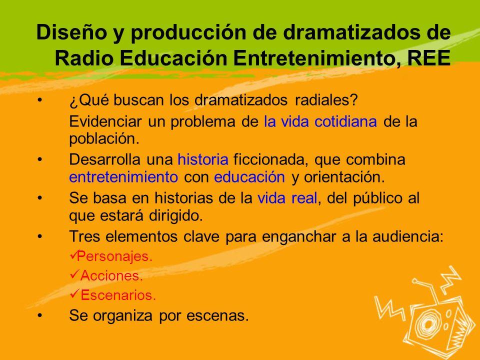 Diseño y producción de dramatizados de Radio Educación Entretenimiento, REE ¿Qué buscan los dramatizados radiales? Evidenciar un problema de la vida c