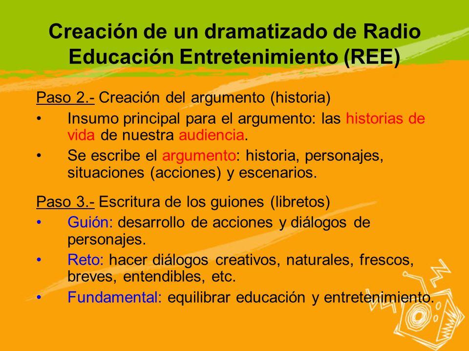Creación de un dramatizado de Radio Educación Entretenimiento (REE) Paso 2.- Creación del argumento (historia) Insumo principal para el argumento: las
