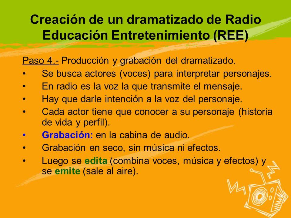 Creación de un dramatizado de Radio Educación Entretenimiento (REE) Paso 4.- Producción y grabación del dramatizado. Se busca actores (voces) para int