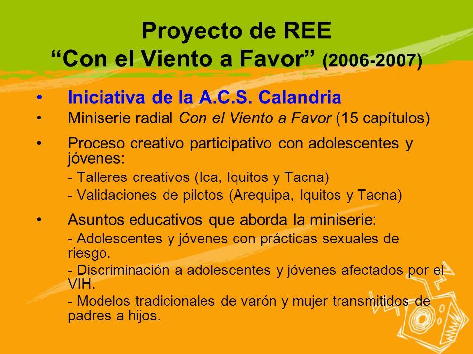 Proyecto de REE Con el Viento a Favor (2006-2007) Iniciativa de la A.C.S. Calandria Miniserie radial Con el Viento a Favor (15 capítulos) Proceso crea