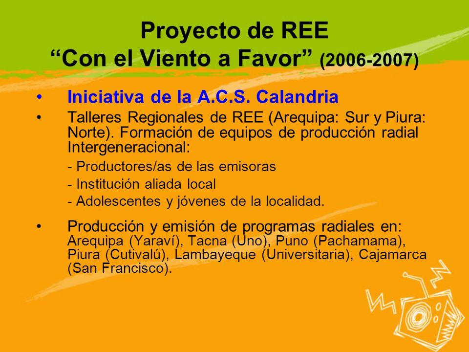 Proyecto de REE Con el Viento a Favor (2006-2007) Iniciativa de la A.C.S. Calandria Talleres Regionales de REE (Arequipa: Sur y Piura: Norte). Formaci