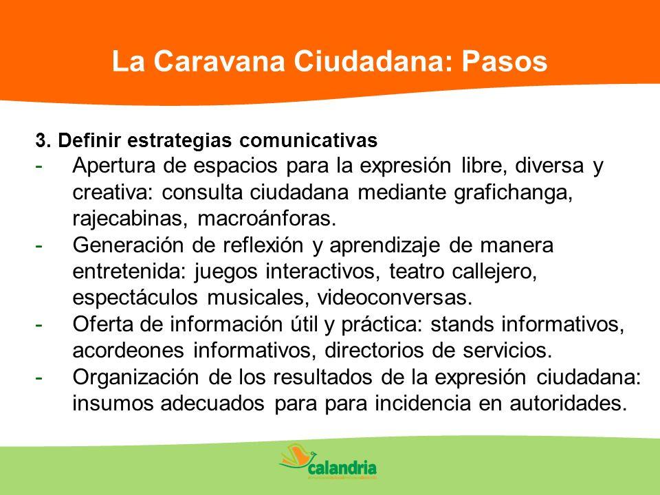 La Caravana Ciudadana: Pasos 3. Definir estrategias comunicativas -Apertura de espacios para la expresión libre, diversa y creativa: consulta ciudadan