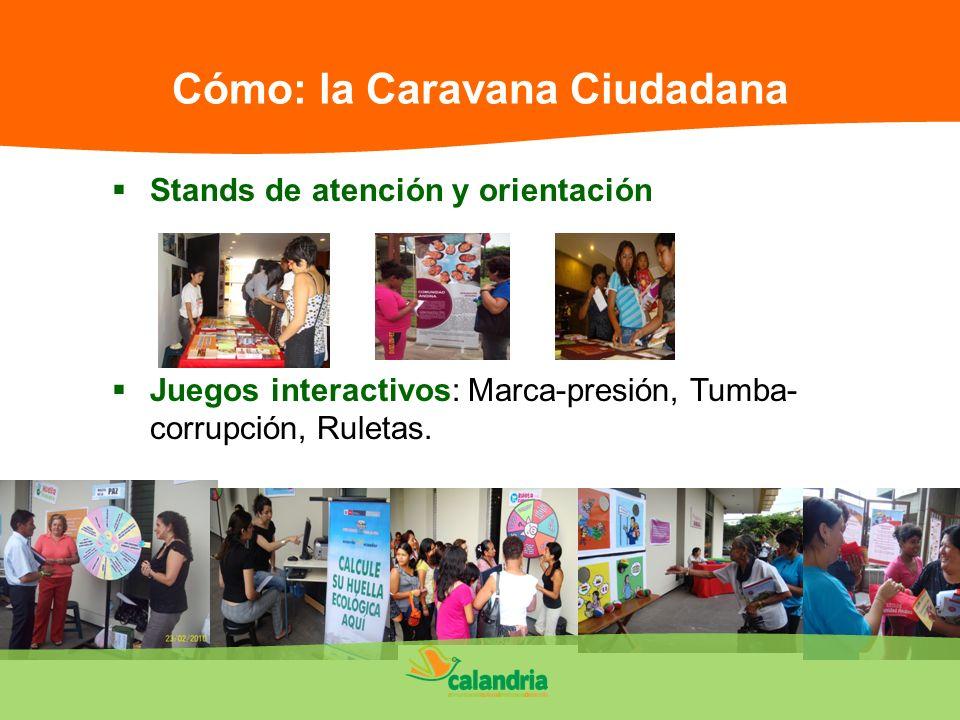 Cómo: la Caravana Ciudadana Stands de atención y orientación Juegos interactivos: Marca-presión, Tumba- corrupción, Ruletas.