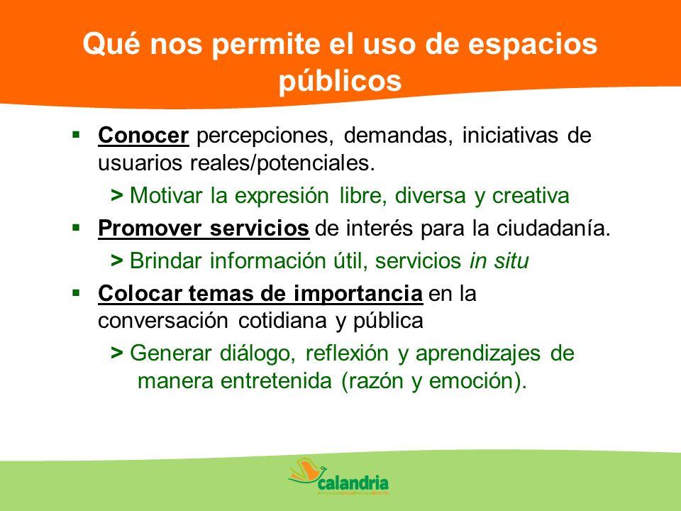 Qué nos permite el uso de espacios públicos Conocer percepciones, demandas, iniciativas de usuarios reales/potenciales. > Motivar la expresión libre,