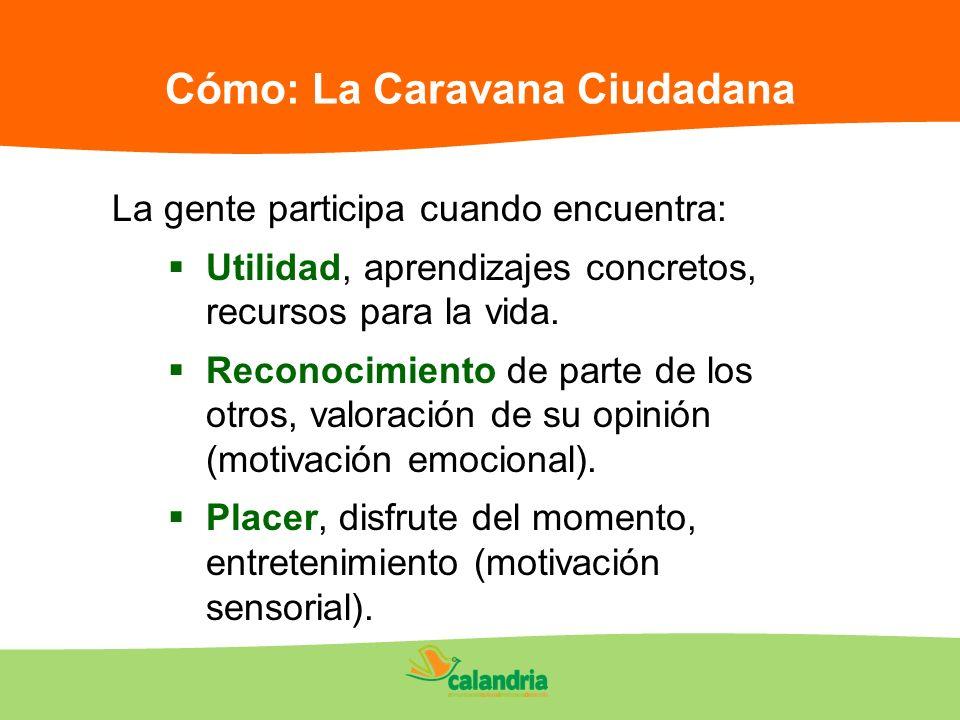 Cómo: La Caravana Ciudadana La gente participa cuando encuentra: Utilidad, aprendizajes concretos, recursos para la vida. Reconocimiento de parte de l