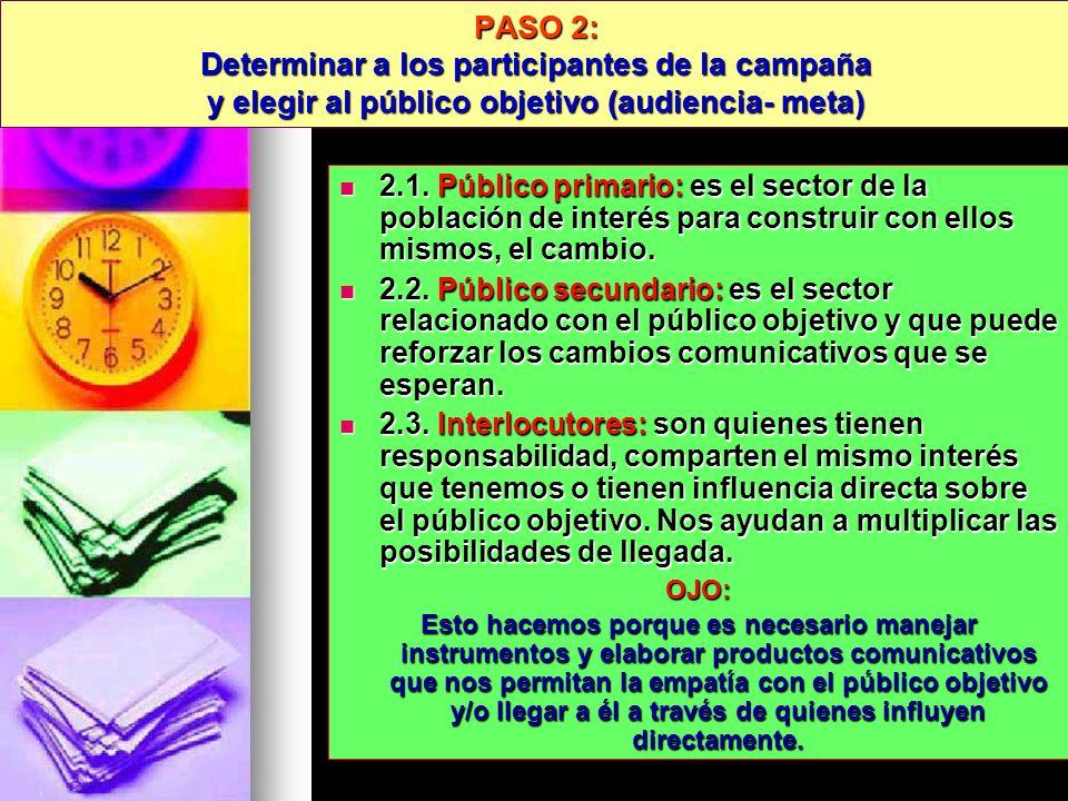 PASO 2: Determinar a los participantes de la campaña y elegir al público objetivo (audiencia- meta) 2.1. Público primario: es el sector de la població