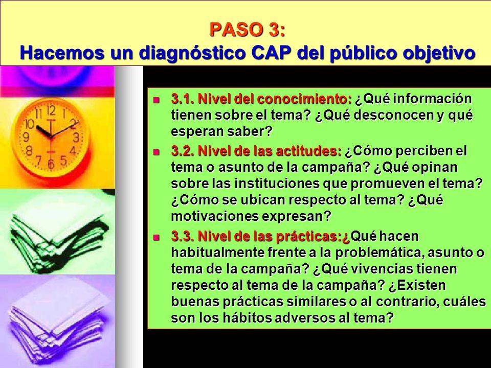 PASO 3: Hacemos un diagnóstico CAP del público objetivo 3.1. Nivel del conocimiento: ¿Qué información tienen sobre el tema? ¿Qué desconocen y qué espe