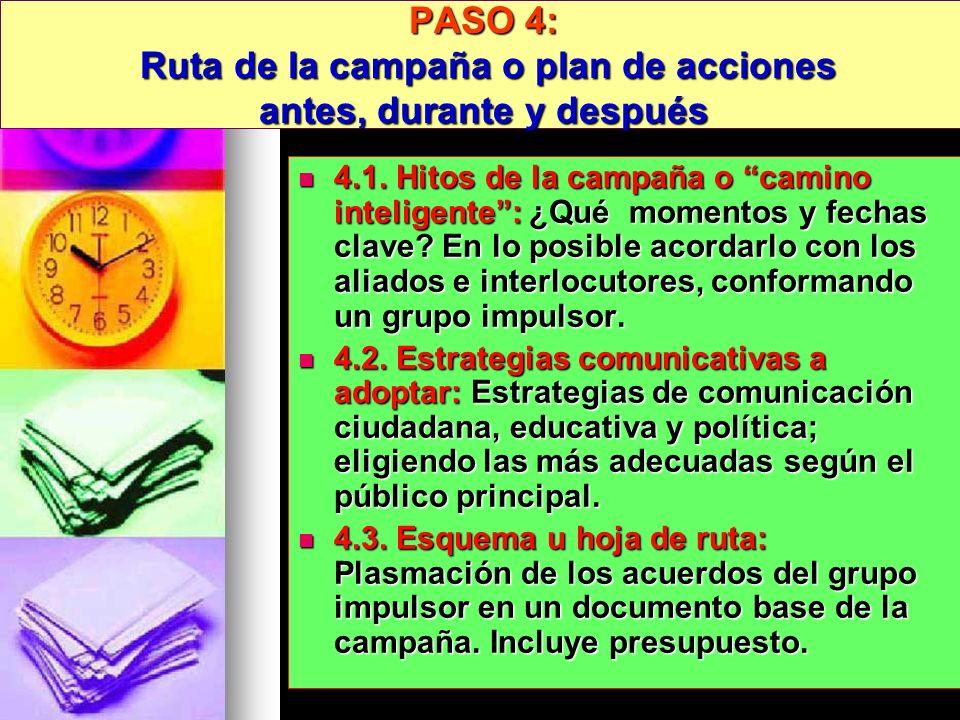 PASO 4: Ruta de la campaña o plan de acciones antes, durante y después 4.1. Hitos de la campaña o camino inteligente: ¿Qué momentos y fechas clave? En