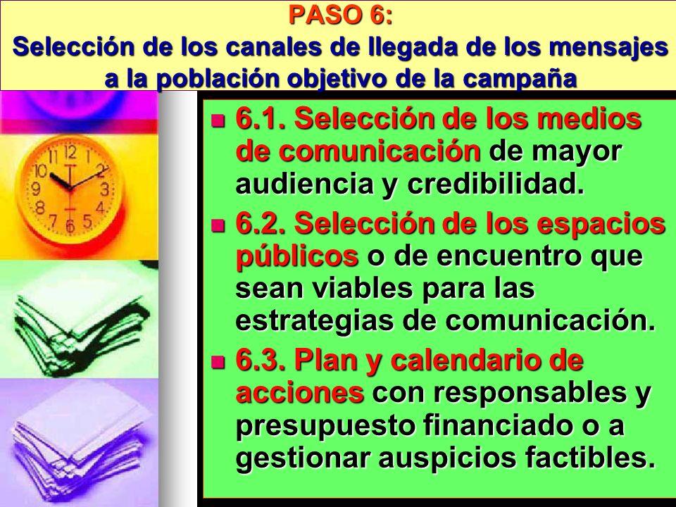 PASO 6: Selección de los canales de llegada de los mensajes a la población objetivo de la campaña 6.1. Selección de los medios de comunicación de mayo