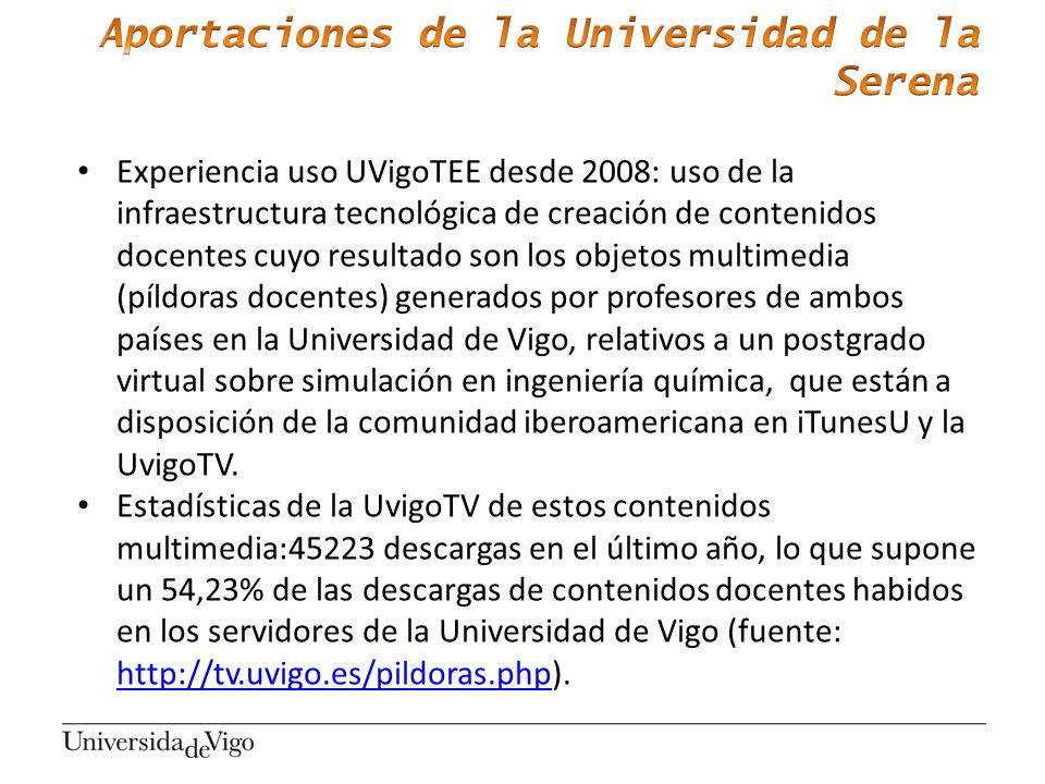 Experiencia uso UVigoTEE desde 2008: uso de la infraestructura tecnológica de creación de contenidos docentes cuyo resultado son los objetos multimedi